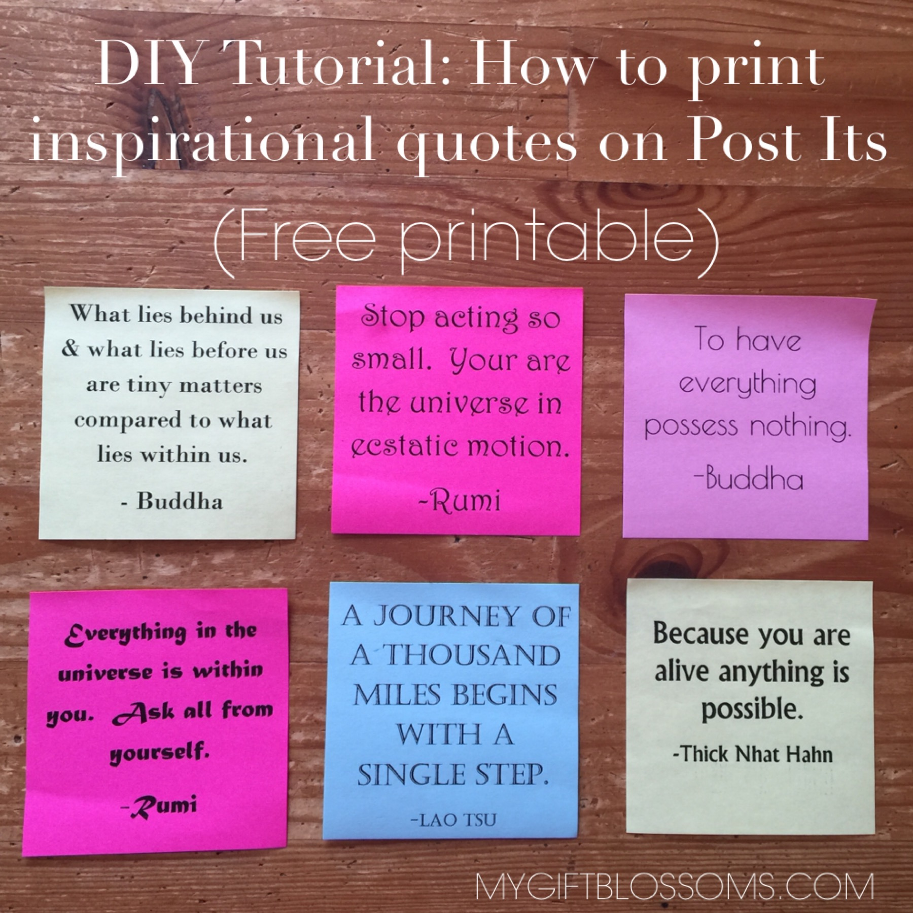 Print Inspirational Quotes On Post Its